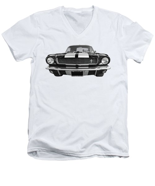 Men's V-Neck T-Shirt featuring the photograph Hertz Rent A Racer Mustang 1966 Black And White by Gill Billington