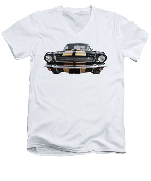 Men's V-Neck T-Shirt featuring the photograph Hertz Rent A Racer Mustang 1966 by Gill Billington