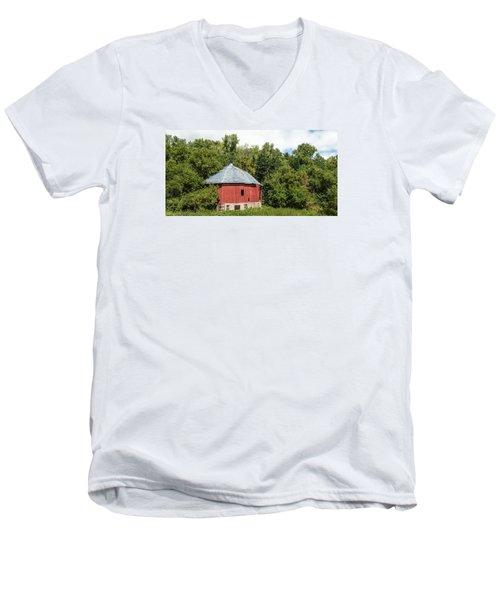 Men's V-Neck T-Shirt featuring the photograph Hexagon Barn by Dan Traun
