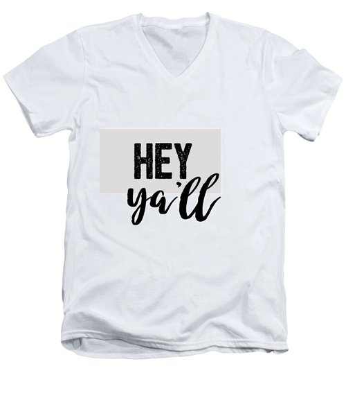 Hey Typography Design Men's V-Neck T-Shirt
