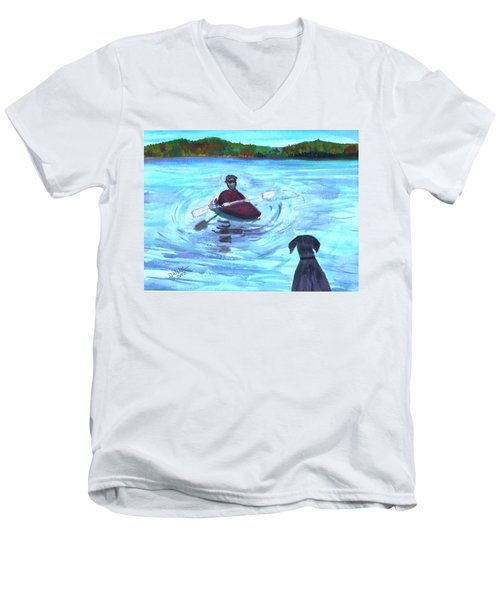 Men's V-Neck T-Shirt featuring the painting Hey Where You Going  by Donna Walsh