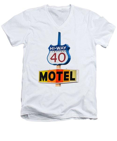 Hi-way 40 Motel Men's V-Neck T-Shirt by Rick Mosher