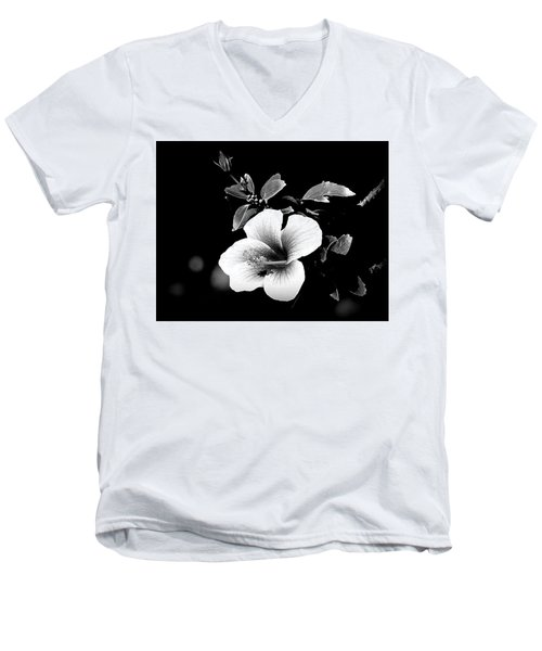 Men's V-Neck T-Shirt featuring the photograph Hibiscus In The Dark by Lori Seaman