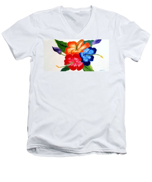 Men's V-Neck T-Shirt featuring the painting Hibiscus by Jamie Frier