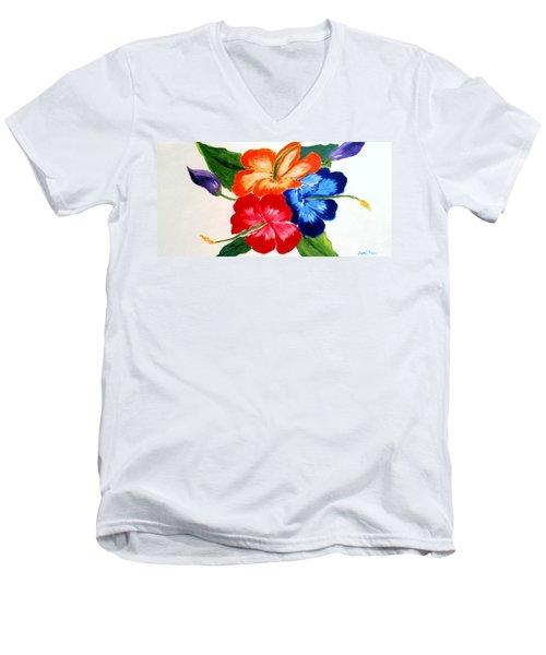 Hibiscus Men's V-Neck T-Shirt by Jamie Frier