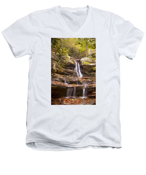 Men's V-Neck T-Shirt featuring the photograph Hidden Falls Of Danbury, Nc by Bob Decker