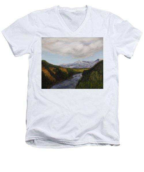 Hidden Mountains Men's V-Neck T-Shirt by Alan Mager