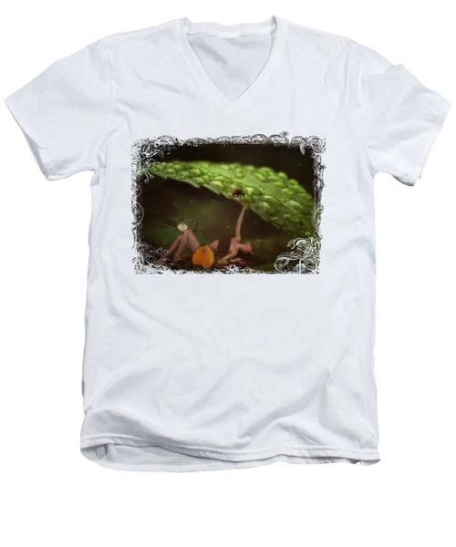 Hiding From The Storm Men's V-Neck T-Shirt by Terry Fleckney