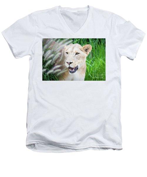 Hiding In Grass Men's V-Neck T-Shirt