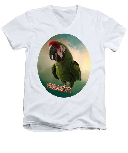 Higgins Men's V-Neck T-Shirt by Zazu's House Parrot Sanctuary