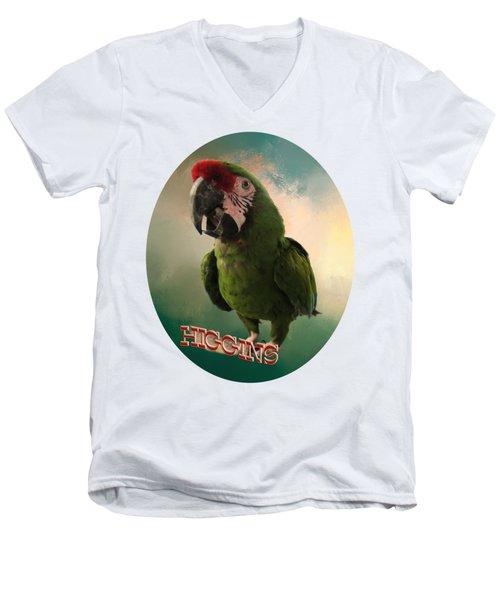 Higgins Men's V-Neck T-Shirt by Zazu's House Parrot Sanctuary