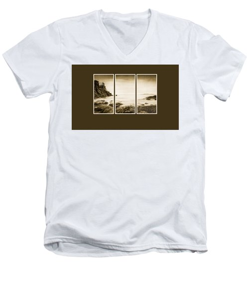 High Rock Triptych Men's V-Neck T-Shirt by Martina Fagan