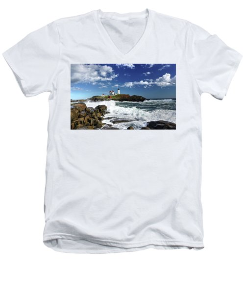 High Surf At Nubble Light Men's V-Neck T-Shirt