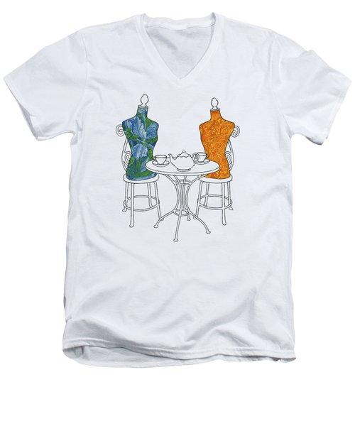 Men's V-Neck T-Shirt featuring the painting High Tea by Meg Shearer
