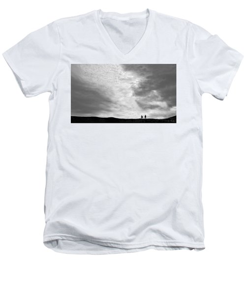Men's V-Neck T-Shirt featuring the photograph Hikers Under The Clouds by Joe Bonita
