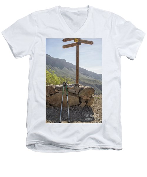 Hiking Poles Resting Near Sign Men's V-Neck T-Shirt