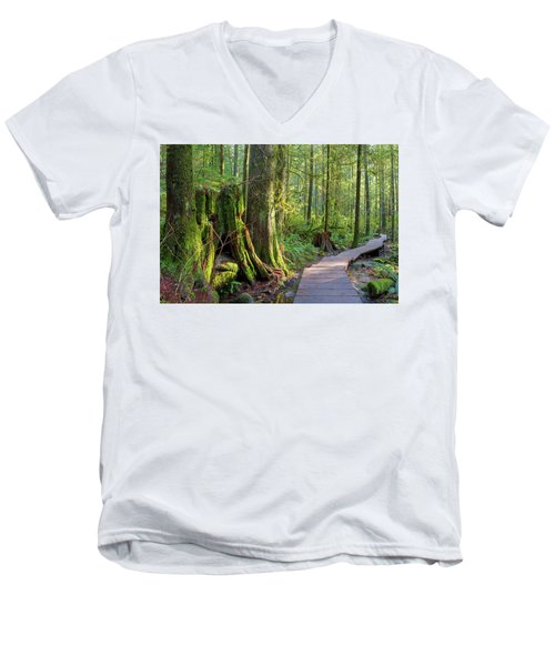 Hiking Trail Through Forest In Lynn Canyon Park Men's V-Neck T-Shirt