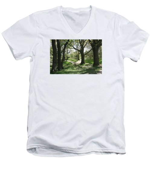 Men's V-Neck T-Shirt featuring the photograph Hill 60 Cratered Landscape by Travel Pics
