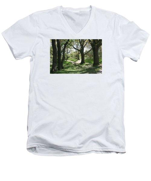Hill 60 Cratered Landscape Men's V-Neck T-Shirt by Travel Pics