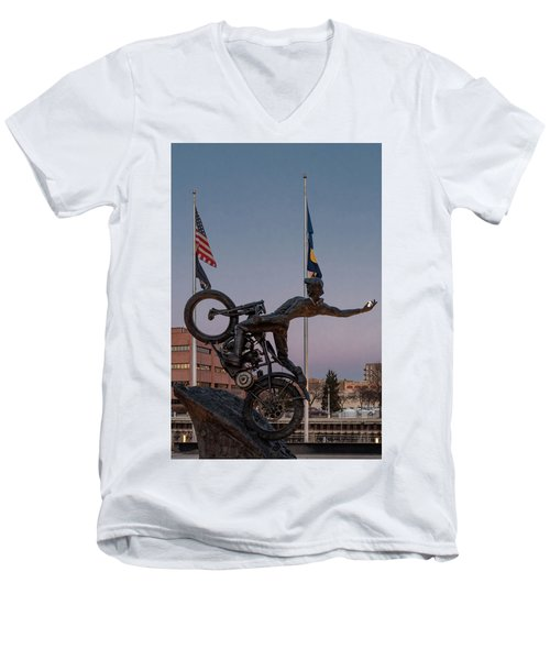 Men's V-Neck T-Shirt featuring the photograph Hill Climber Catches The Moon by Randy Scherkenbach