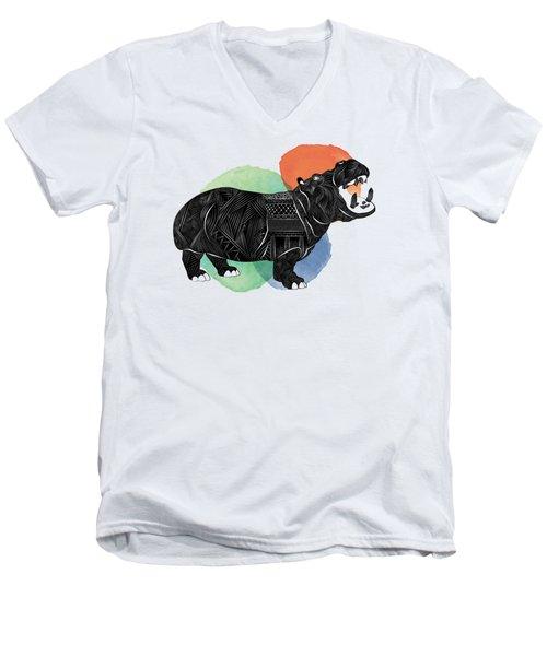 Hippo Men's V-Neck T-Shirt by Serkes Panda