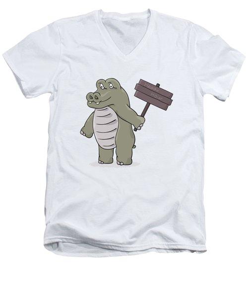 Hippopotamus With Happy Hour Sign Men's V-Neck T-Shirt