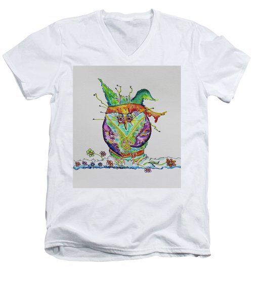 Hippy Owl- Vertical Format Men's V-Neck T-Shirt