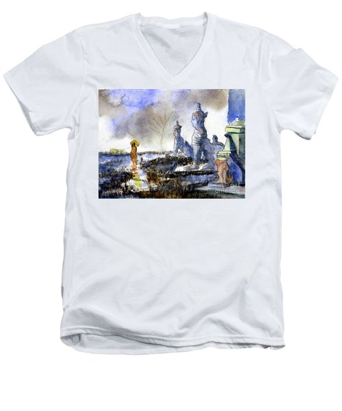 His And Hers Temples Men's V-Neck T-Shirt by Randy Sprout