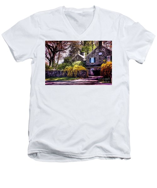 Men's V-Neck T-Shirt featuring the photograph Historic 1889 Home by Polly Peacock