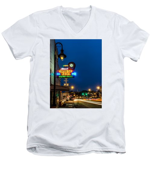 Historic Almond Roca Co. During Blue Hour Men's V-Neck T-Shirt by Rob Green