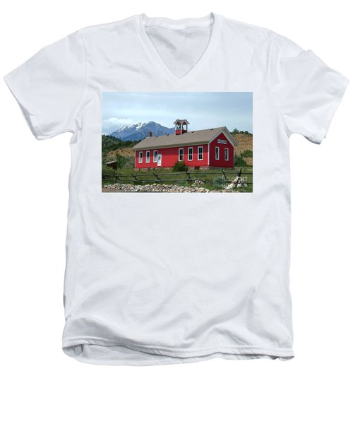 Historic Maysville School In Colorado Men's V-Neck T-Shirt by Catherine Sherman