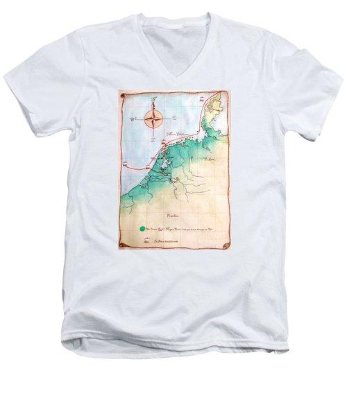 Men's V-Neck T-Shirt featuring the painting Magna Frisia- Frisian Kingdom by Annemeet Hasidi- van der Leij