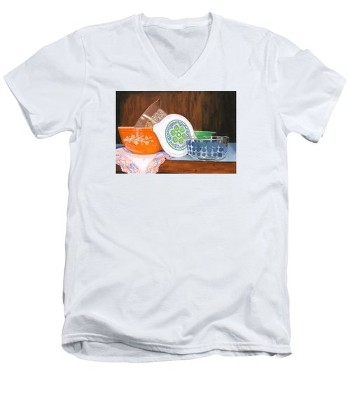 Men's V-Neck T-Shirt featuring the painting History Of Pyrex by Lynne Reichhart