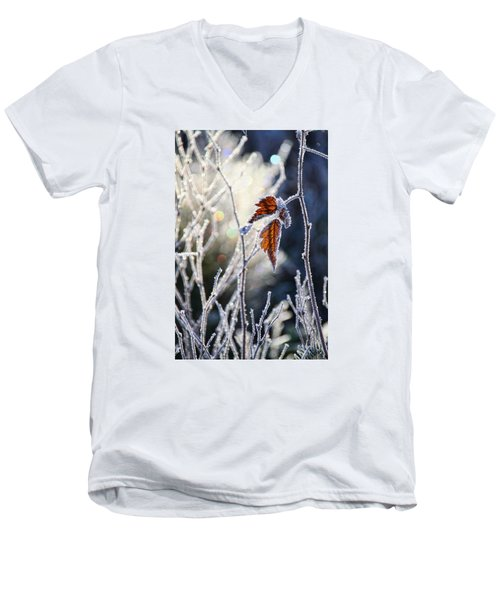 Men's V-Neck T-Shirt featuring the photograph Hoar Frost And Leaves In Winter by Peggy Collins