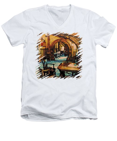 Men's V-Neck T-Shirt featuring the digital art Hobbit Writing Nook T-shirt by Kathy Kelly