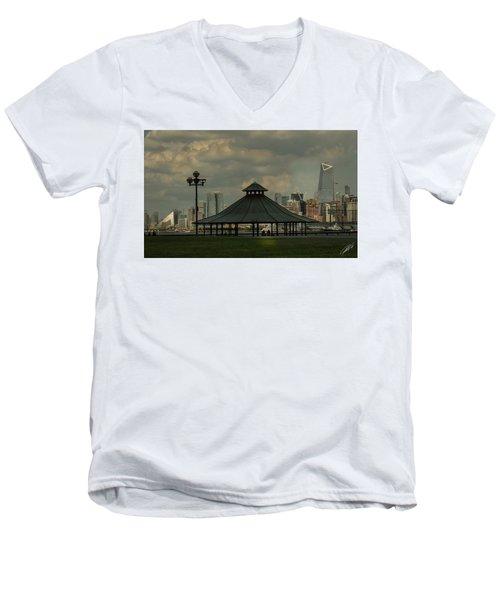 Hoboken, Nj -pier A Park Gazebo Men's V-Neck T-Shirt