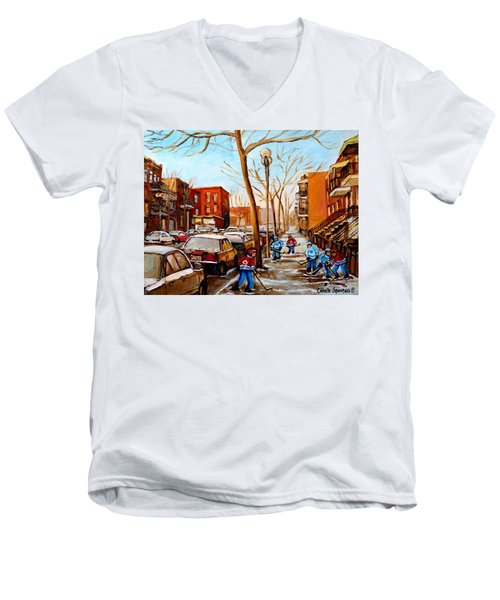Men's V-Neck T-Shirt featuring the painting Hockey On St Urbain Street by Carole Spandau