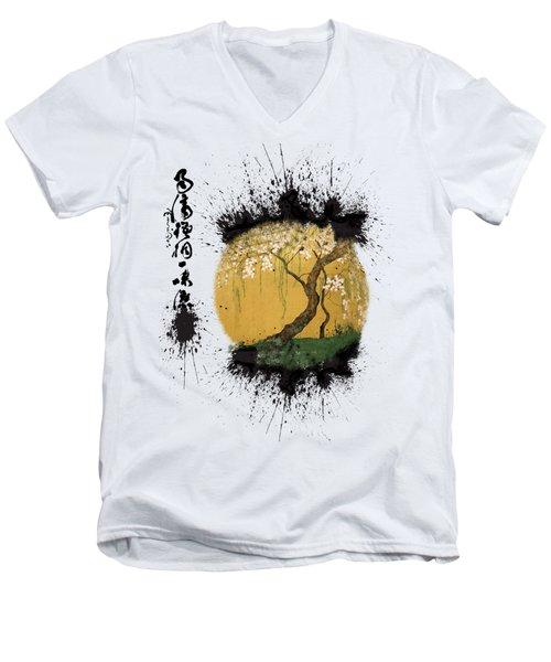 Men's V-Neck T-Shirt featuring the painting Hoitsu Tesshu Splatter  by Robert G Kernodle