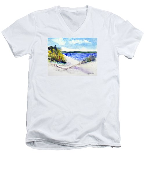 Men's V-Neck T-Shirt featuring the painting Hole In The Cove by Joan Hartenstein