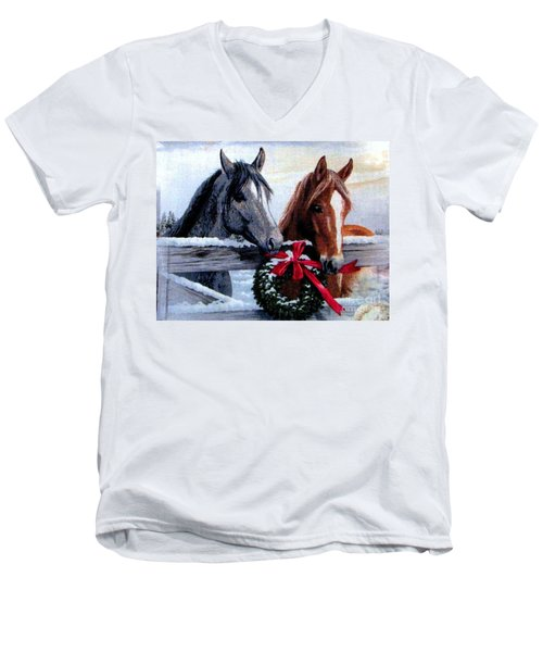 Men's V-Neck T-Shirt featuring the photograph Holiday Barnyard by Judyann Matthews