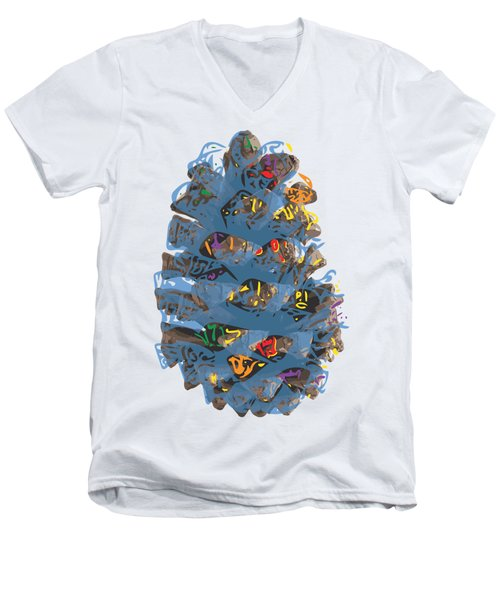 Holiday Blue Cone Men's V-Neck T-Shirt by Stan  Magnan