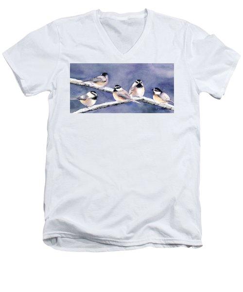 Holiday Chickadees Men's V-Neck T-Shirt