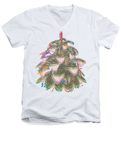 Holiday Green Cone Men's V-Neck T-Shirt by Stan  Magnan