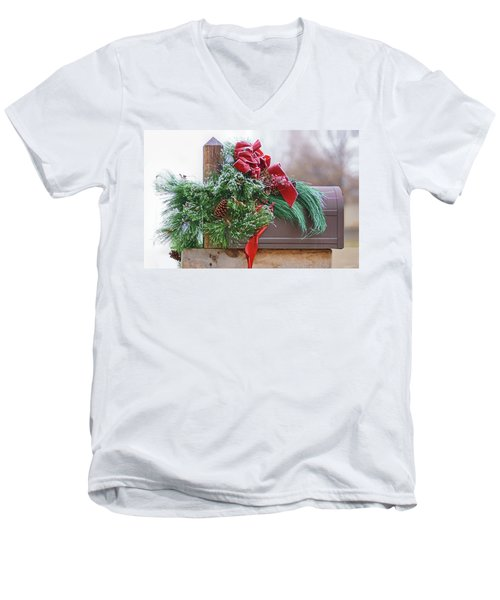 Men's V-Neck T-Shirt featuring the photograph Holiday Mail by Nikolyn McDonald