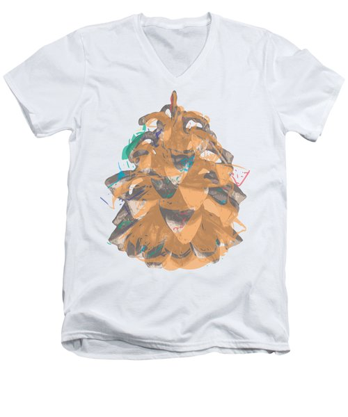 Holiday Yellow Cone Men's V-Neck T-Shirt by Stan  Magnan