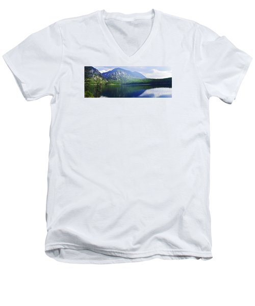 Men's V-Neck T-Shirt featuring the photograph Holland Lake Panoramic View by Janie Johnson