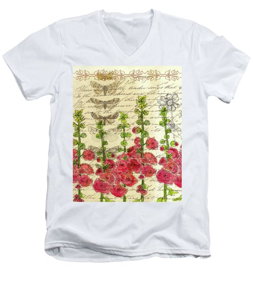 Men's V-Neck T-Shirt featuring the drawing Hollyhocks And Butterflies  by Cathie Richardson