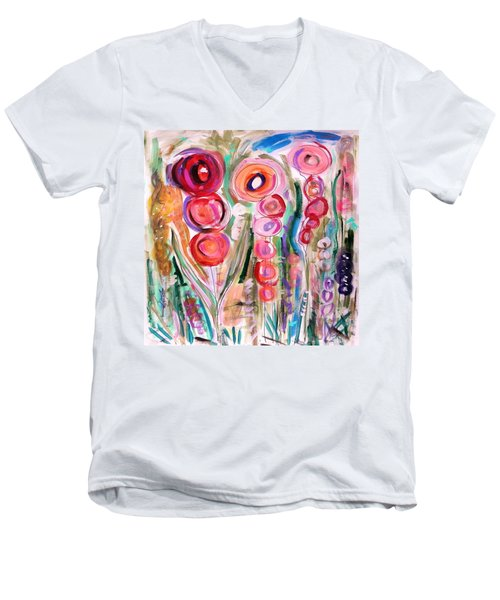 Hollyhocks Of The Garden Men's V-Neck T-Shirt by Mary Carol Williams
