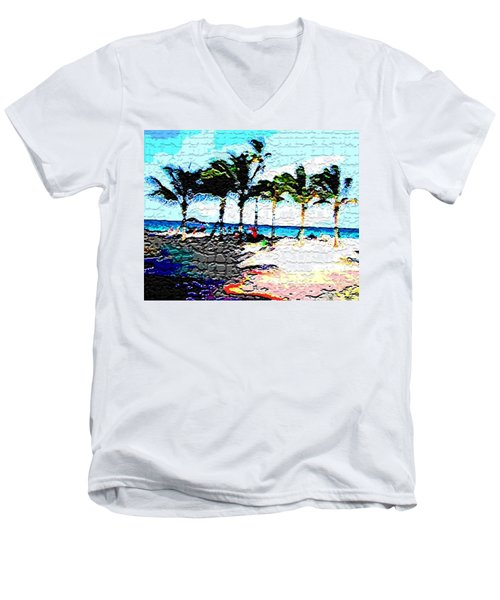 Hollywood Beach Fla Digital Men's V-Neck T-Shirt by Dick Sauer