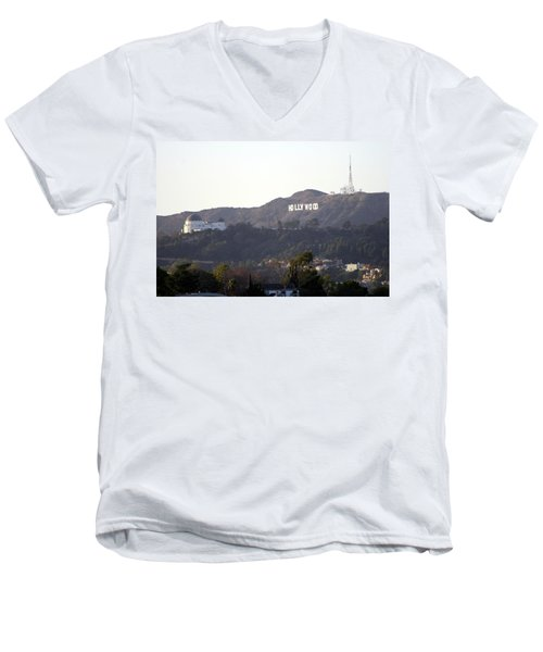 Hollywood Hills And Griffith Observatory Men's V-Neck T-Shirt